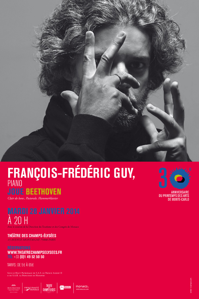 Affiche du concert de François-Frédéric Guy au Théâtre des Champs Elysées - Janvier 2014